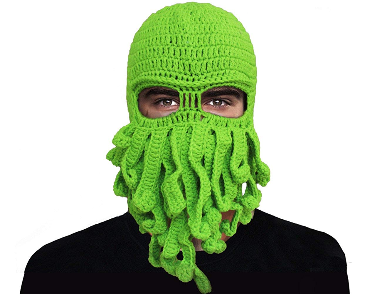 GIANCOMICS Funny Tentacle Octopus Beanie Crochet Knit Beard Hat Wind Ski Mask
