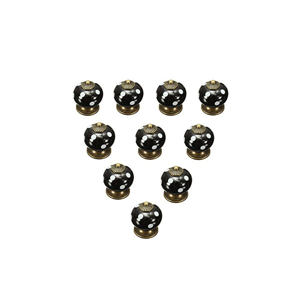 OULII Polka Dotted Design Ceramic Kitchen Pull Handles Cupboard Cabinet Drawer Door Knobs (Black) Pack 10pcs