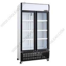 Commercial 1050L display glass door refrigerated freezer showcase for wholesale