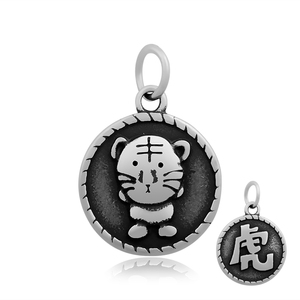custom Chinese zodiac tiger Chinese character charms two-sided stainless steel pendants charms for jewelry accessory bracelet