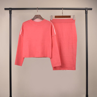 women fashion stylish latest style pink color pullover jumpers sweater with mid length split back hem sexy skirt set