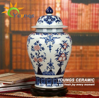H51cm Chinese Underglaze Red And Blue Porcelain Tall Large Ginger Jars