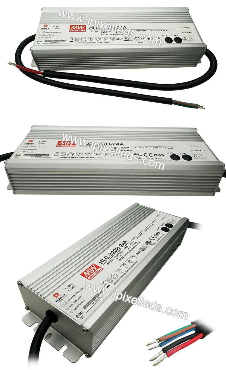 HLG-320H-24A meanwell kualitas tinggi tahan air power supply