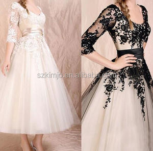Western Short Wedding Dresses Lace Applique Half Sleeve Ankle Length Bridal Dresses 2018