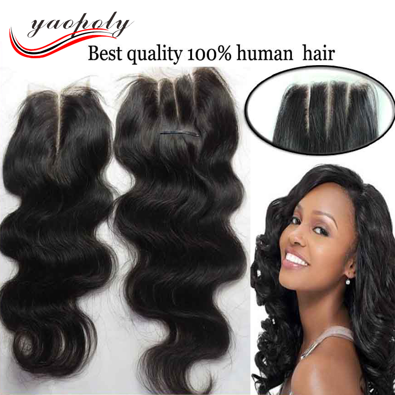 2016 hot 4*4 free /middle/three 3 part frontal human hair lace closure with bundles wholesale brazilian 3 way part closure