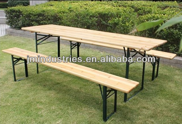 Folding Wooden Beer Garden Table And Bench - Buy Folding Wooden Beer ...