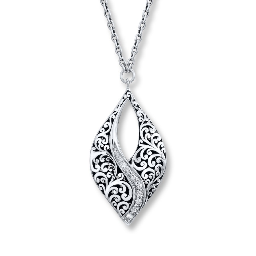 Antique design Solid 925 sterling silver filigree neckalce pendant