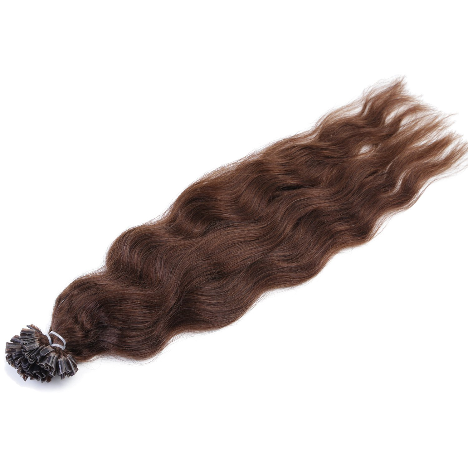 "Neitsi 20"" 25s/lot 1g/s 100% Remy Human Hair Nail U Tip Hair Extension Natural Wave (4#)"
