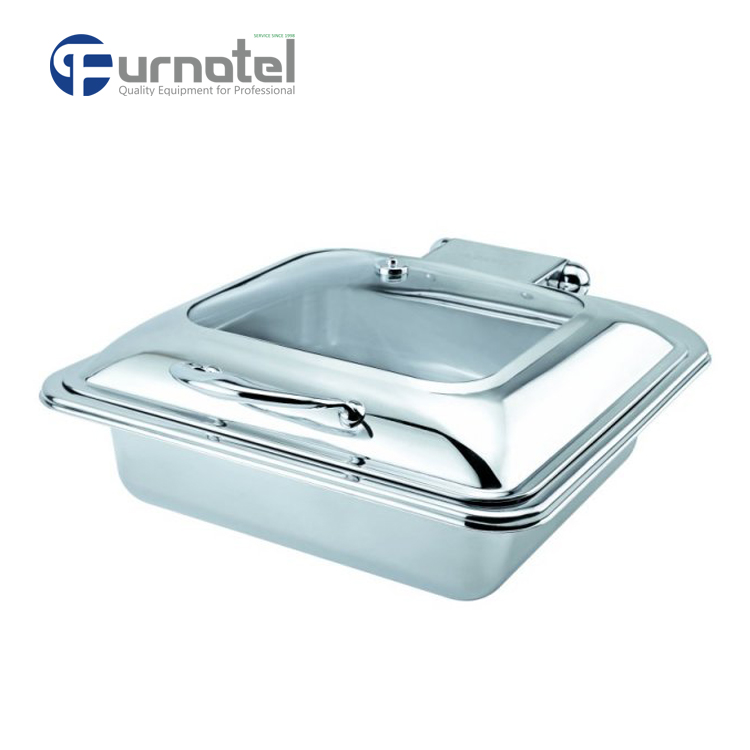 C059 Hotel Buffet Serving Heavy Duty Oblong Roll Top Induction Chafer Chafing Dish