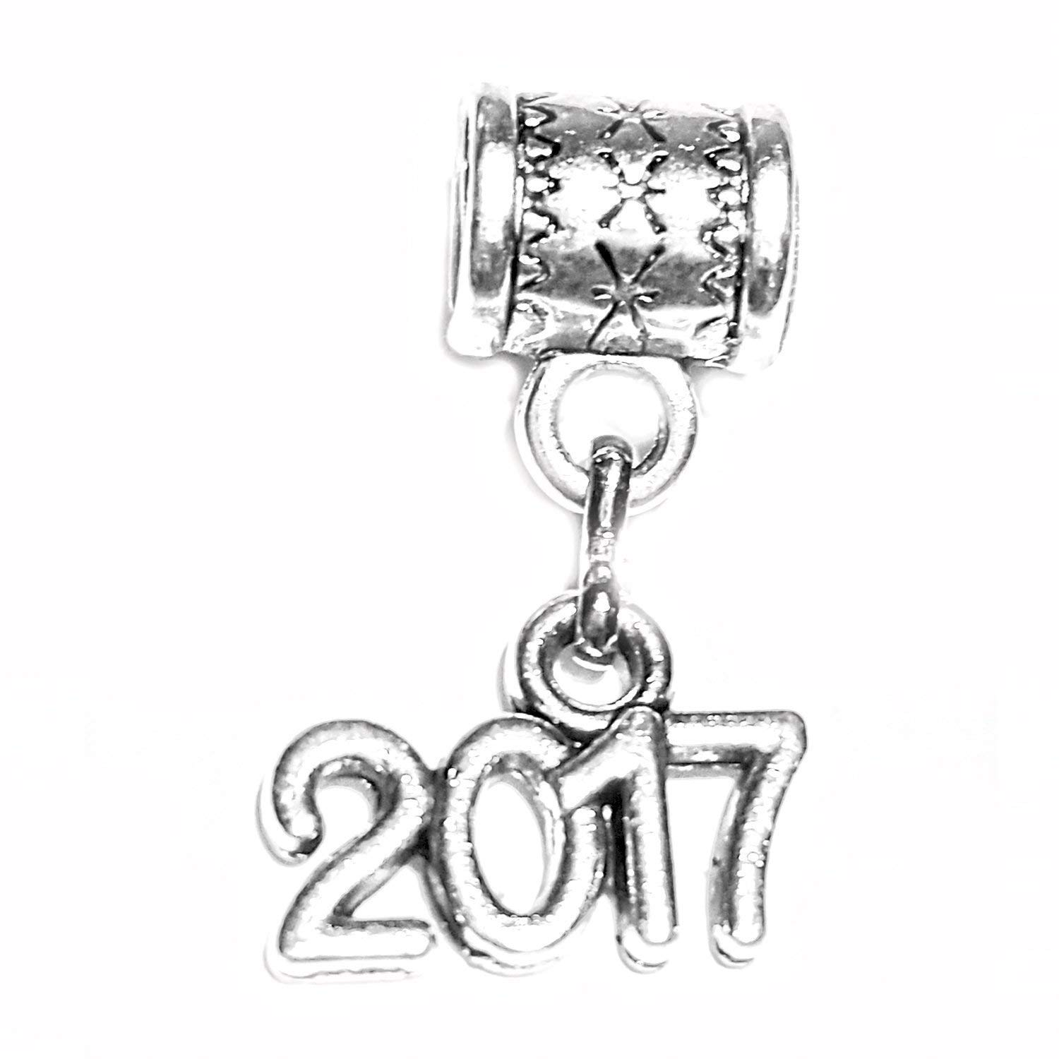 """2017 charm"" is a Tibetan Silver hanging charm by Mossy Cabin for modern style snake chain bracelet, or add to a neck chain, pendant necklace or key chain"