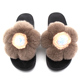 Lovely Plush Rex Rabbit Fur Slides Slippers Flower Bud Slippers For Women