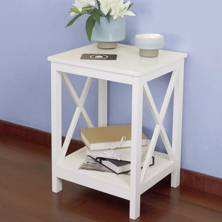 unique modern white small cross side end table for living