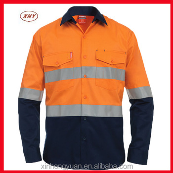 Wholesale orange fluo moisture wicking twill high for Wholesale high visibility shirts