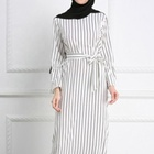 Muslim striped trumpet sleeve dress crepe modest tunisian sri lanka muslin normal abaya designs
