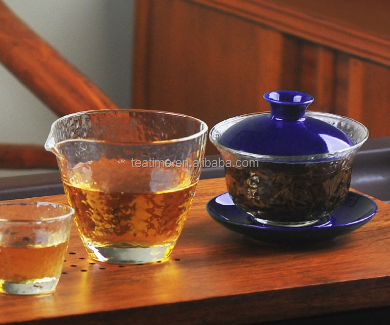 wholesale thickening large clear glass tea tools/tea bowl with lid and saucer