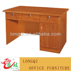 modern new design three lockable drawer with cabinet MDF grain drawing surface office table computer furniture writing desk