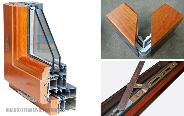 Aluminum Window Details : Wood grain color aluminum frame thermal break
