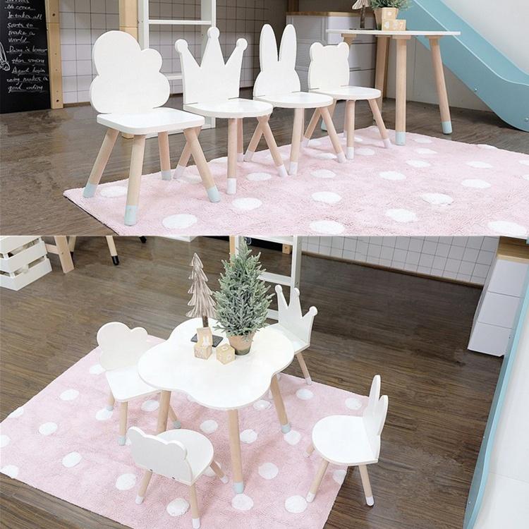Ambientale di legno bunny copertura orso corona bambini tavolo e sedia per bambini mobili per la decorazione della stanza
