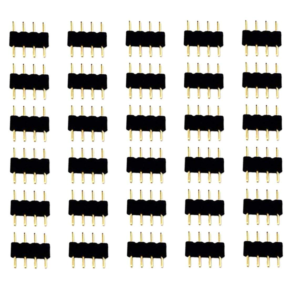 Liwinting 30pcs 4pin Male to Male LED Strip Connector for SMD 3528 2835 5050 RGB LED Strip Light Connect between LED Strip and Remote Controller (30pcs/pack)