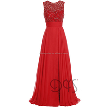 China Sexy long beaded top high slit chiffon a-line red prom dress 2017 for ladies