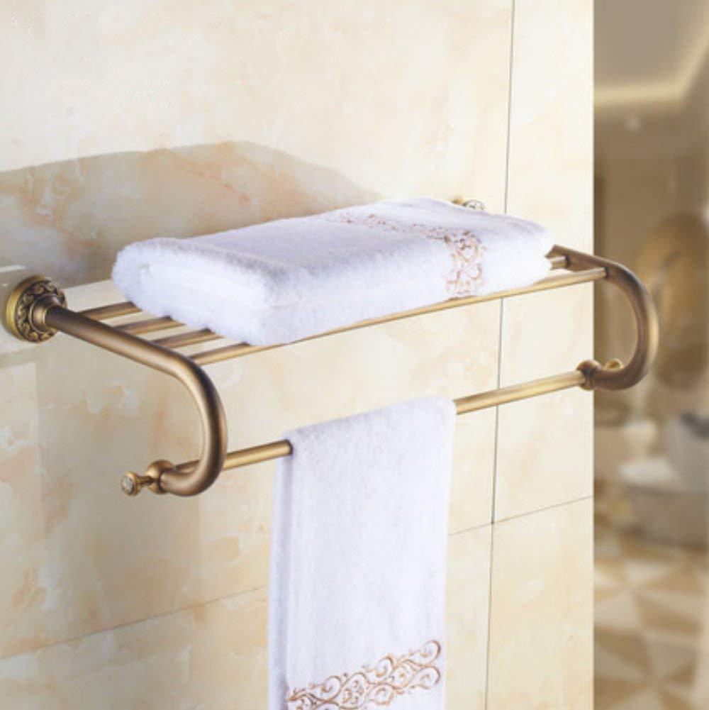 LGSYSYP Bathroom accessories/bathroom accessories bath towel storage rack copper retro brushed bathroom towel rack double wall-mounted towel rack racks home hotel decoration pendant bath towel/to