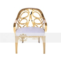 new style leisure chair with 204 stainless steel legs gold painted laser cutting