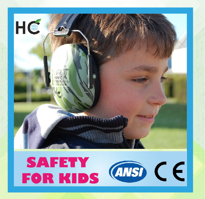 HC706 CE and ANSI green comfortable light weight and easy storage kids ear protection ear muffs