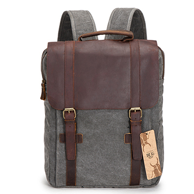 16oz Canvas vintage 17 inch laptop travelling backpack with leather trim