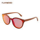 Fashionable red one piece lens style glasses bubinga wood sunglasses