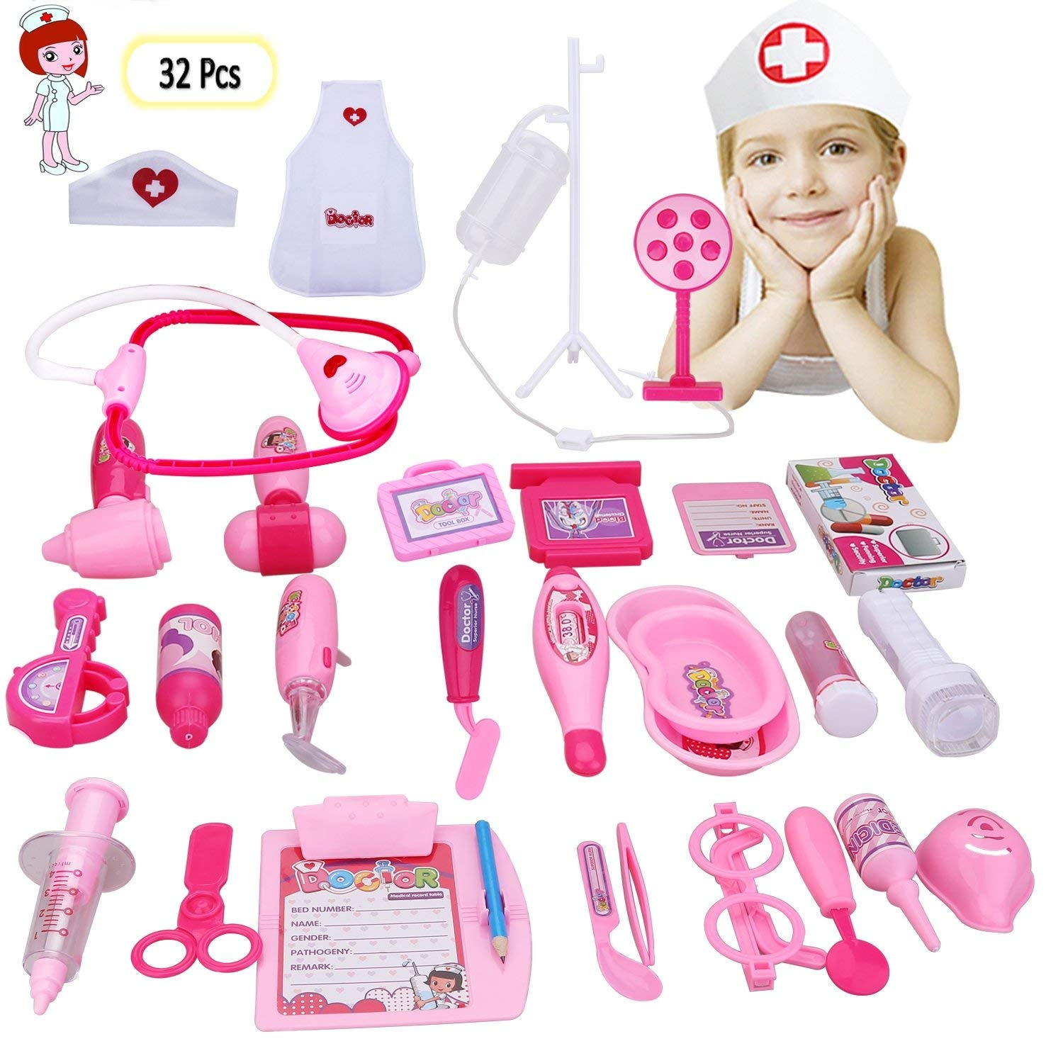 YNCTE Doctor Kit for Kids, 32 Piece Complete Pretend Play Doctor Toy Set Girls Boys Medical Doctor Role Playing