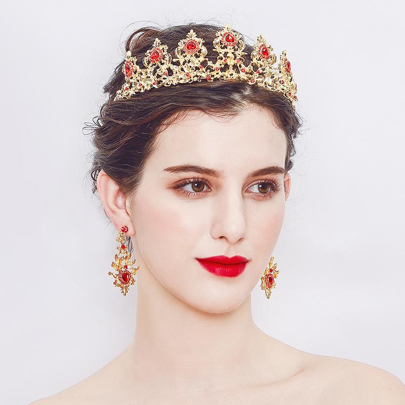 Yiwu sieraden Europese en Amerikaanse klassieke modeling barokke bruid crown oorbellen accessoires set