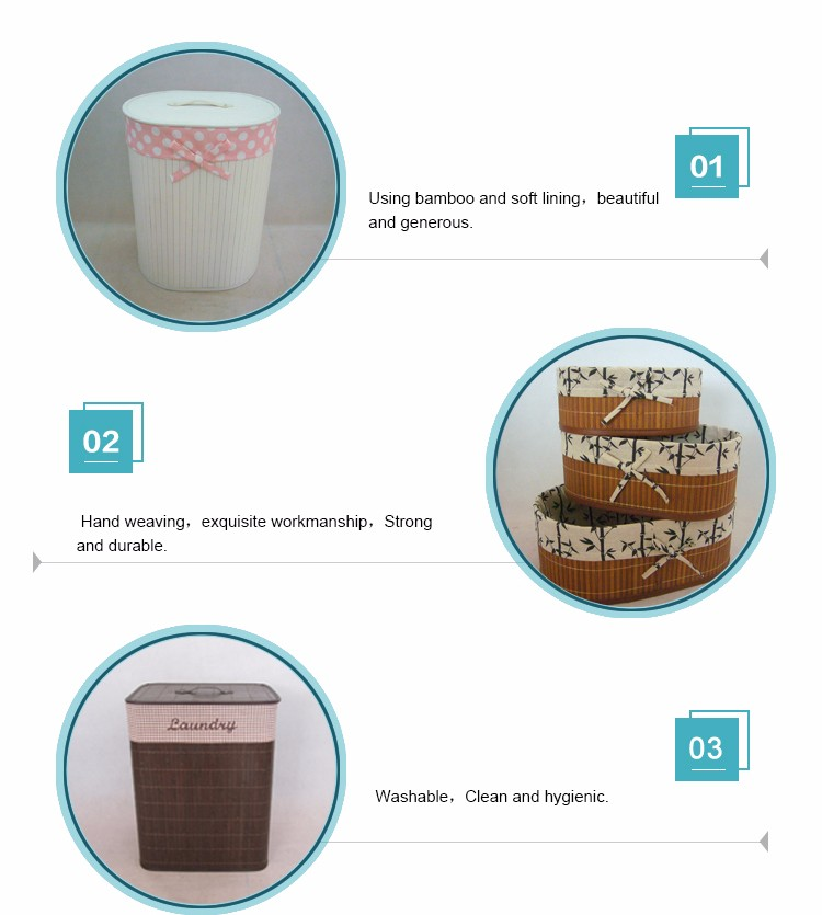 Household fashion design handmade woven bamboo laundry hamper