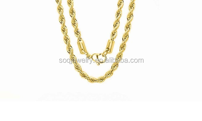 Simple Designs High Quality 18k gold full Stainless Steel Chain with Rope Chain Jewelry