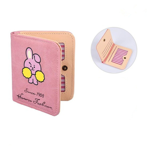 Colorful K POP BTS Bulletproof Boy Scouts BT21 Cosplay Cartoon Wallets PU Leather Coin Purse Bifold Short Anime Wallet