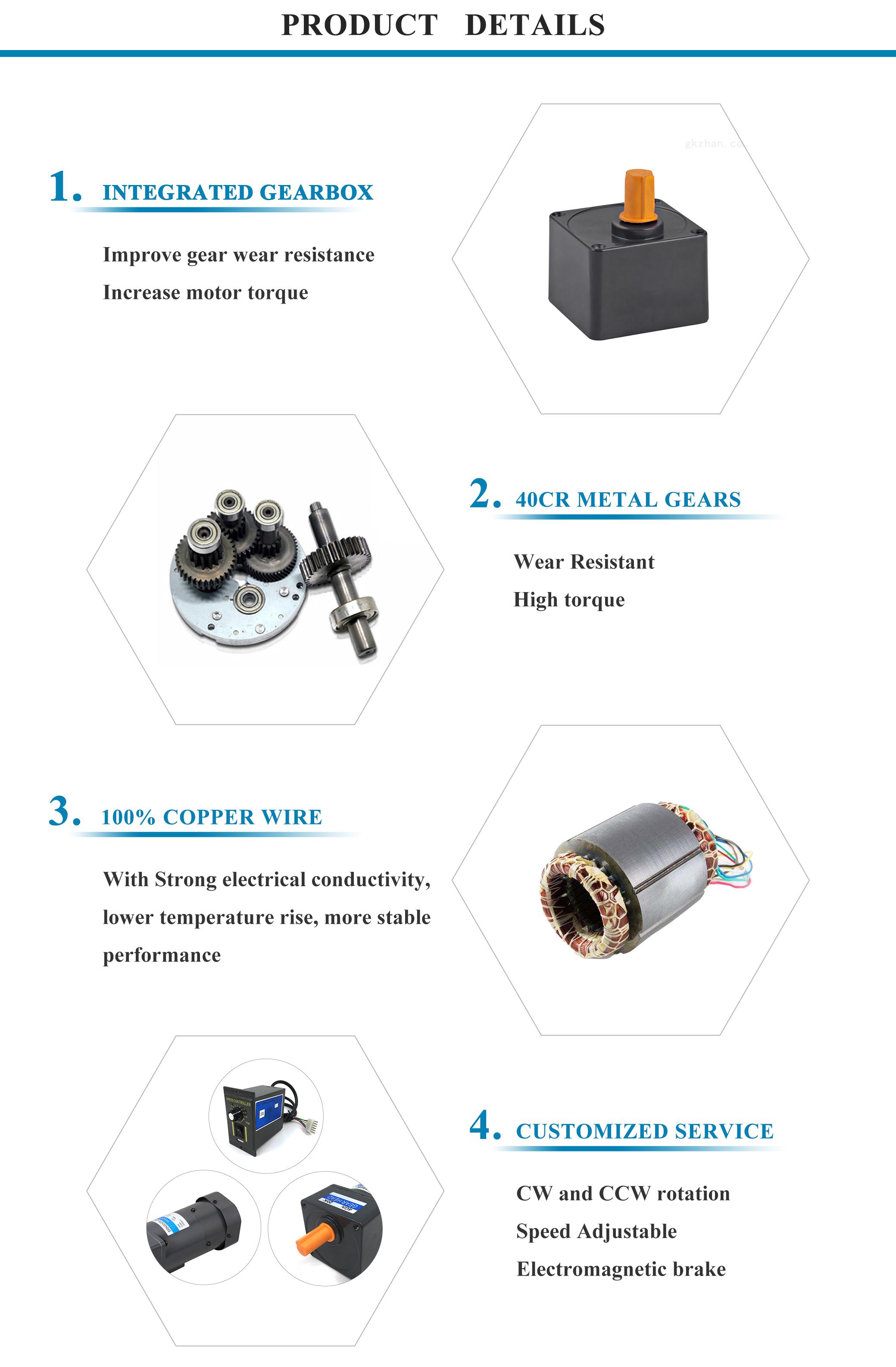 25w 110 volt 230 volt small reversible cw ccw ac gearhead motors