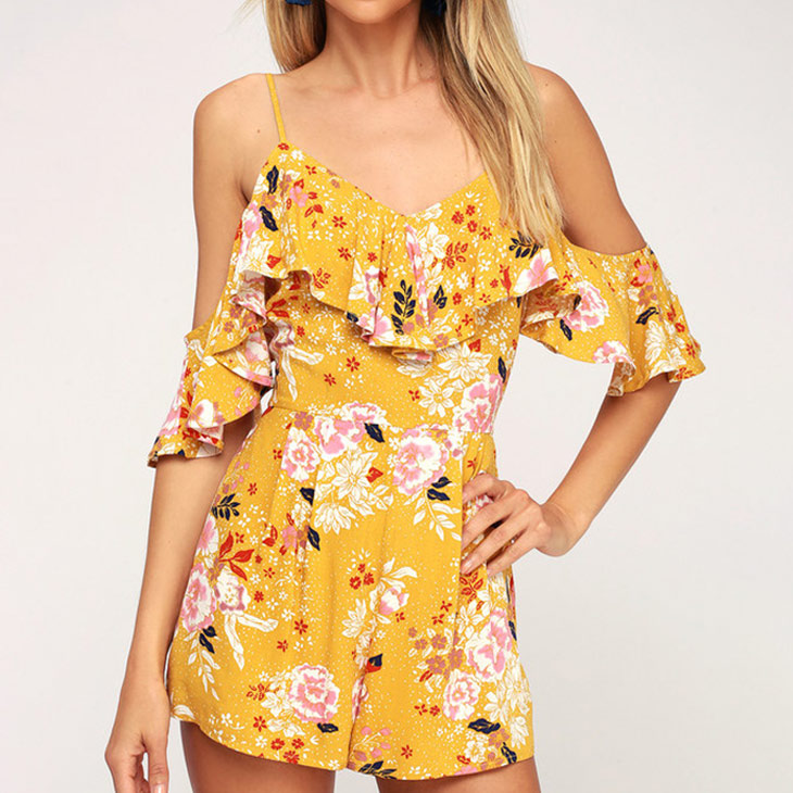 Guangzhou spaghetti strap V Neck yellow floral adult short jumpsuits romper ,ladies casual sexy rompers jumpsuit