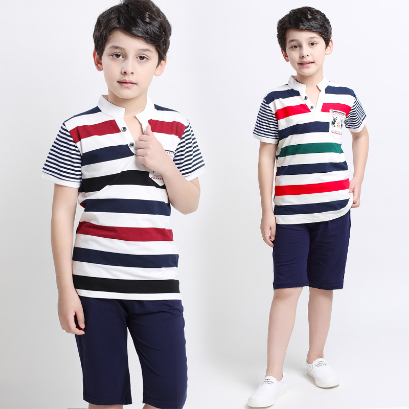 Fashion Clothes Boys 2016 Summer Children Boy Tracksuit Clothing Sets 2pcs Striped T-shirt + Pants Kids Clothes Boys 4-13 Years