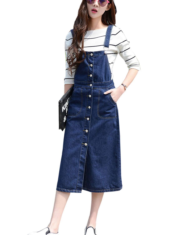 Get Quotations · Zhusheng Women s Button Front Adjustable Strap Midi Long  Denim Jean Suspender Overall Dress Skirt 99980ba1f