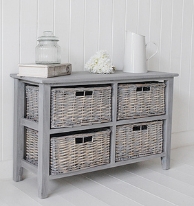 Grey Wicker Vintage French Shoe Wood Cabinet With 3 Drawers