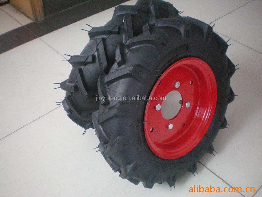 Herringbone pattern pneumatic rubber wheels 4.00-8 for Micro tillage machine tractor