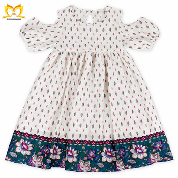 Summer Baby Girls Trendy Cold Shoulder Design Cotton Yarn Frock Wholesale Children s  Boutique Kids Dresses 27ee59789