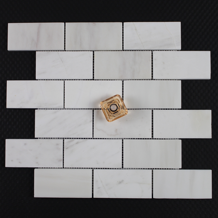 Decorstone24 Elegant Volakas White Stone Subway Tile Backsplash 2x4