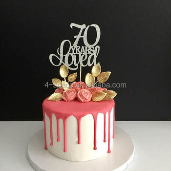Acrylic Happy 70th Birthday Cake Topper Gold Mirrored Perspex 70 And Fabulous Number