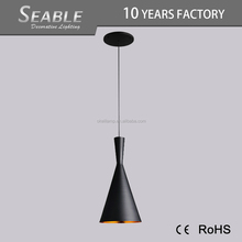 Hot selling iron kitchen geometric black metal led pendant light