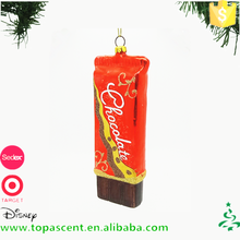 Wholesale handpainted glass long chocolate ornament for christmas decoration