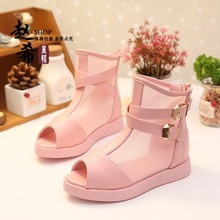 2016 Elegant Children High Leather Patch Sandals Summer Fashion Girls Fish Head Shoes Kids Breathable Mesh
