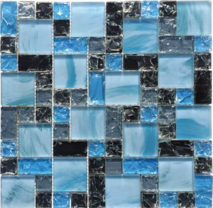 Sea Blue And Black Ice Crack Glass Mosaic