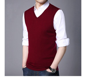 Mens Slim Fit Basic Plain Knitted V-Neck Pullover Sweater for Vest Men Knitted Vest