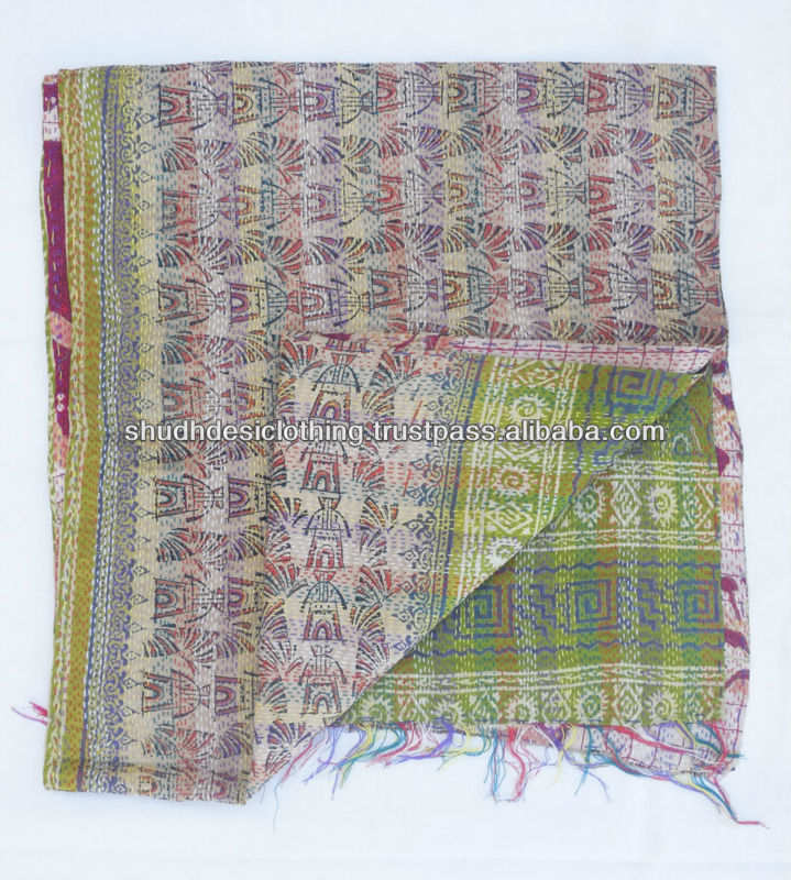 The Amazon Clothing vintage silk sari kantha scarves/Stole / Shawls