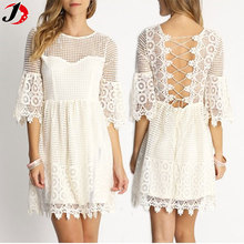 Ladies & Girls New Model Sexy Fashion White Mini Lace Dress With Baclkless Design